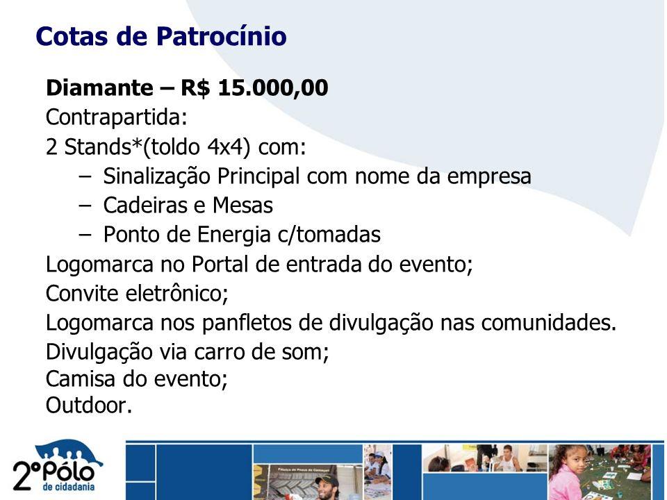 Cotas de Patrocínio Diamante – R$ 15.000,00 Contrapartida: