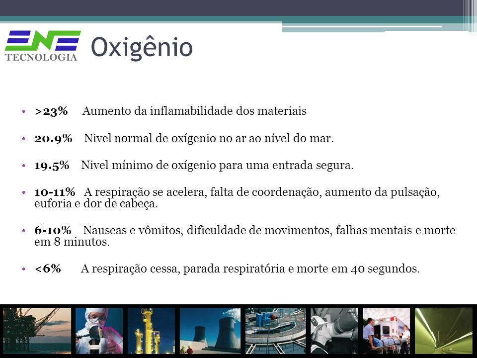 Oxigênio >23% Aumento da inflamabilidade dos materiais