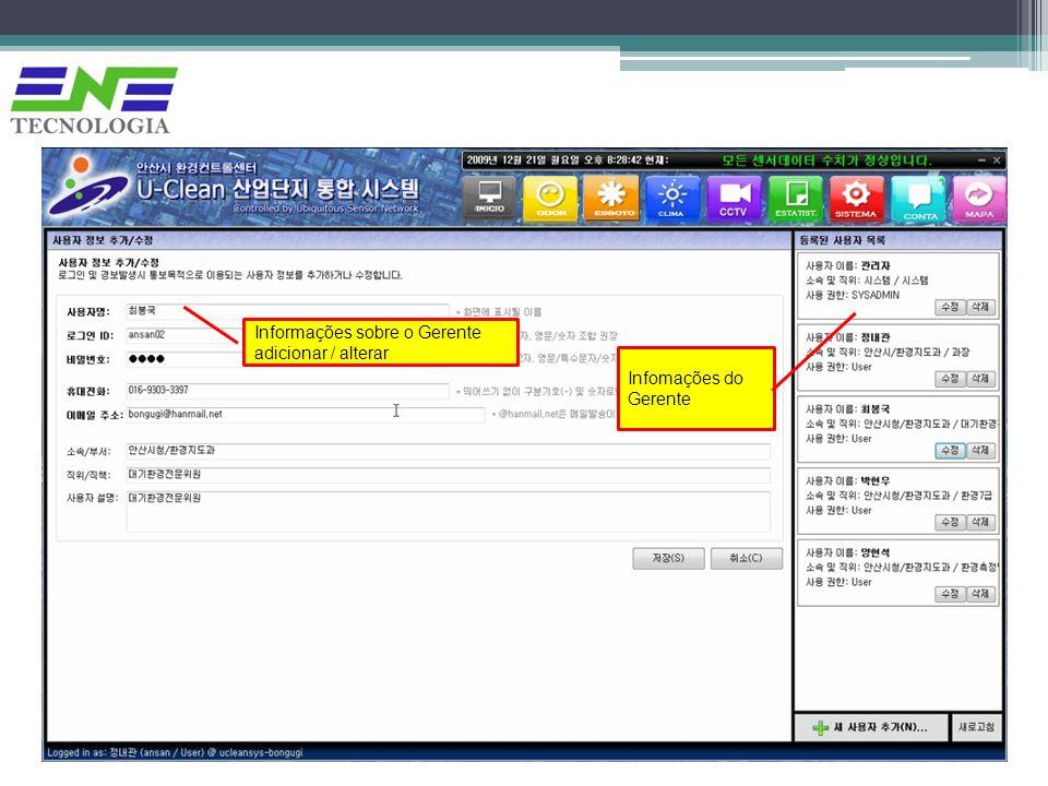 Informações sobre o Gerente adicionar / alterar