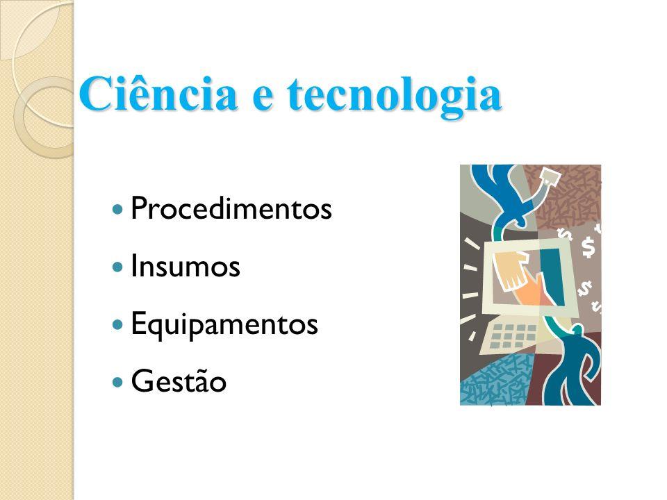 Ciência e tecnologia Procedimentos Insumos Equipamentos Gestão