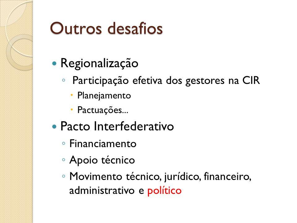Outros desafios Regionalização Pacto Interfederativo