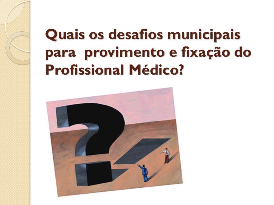 Quais os desafios municipais para provimento e fixação do Profissional Médico
