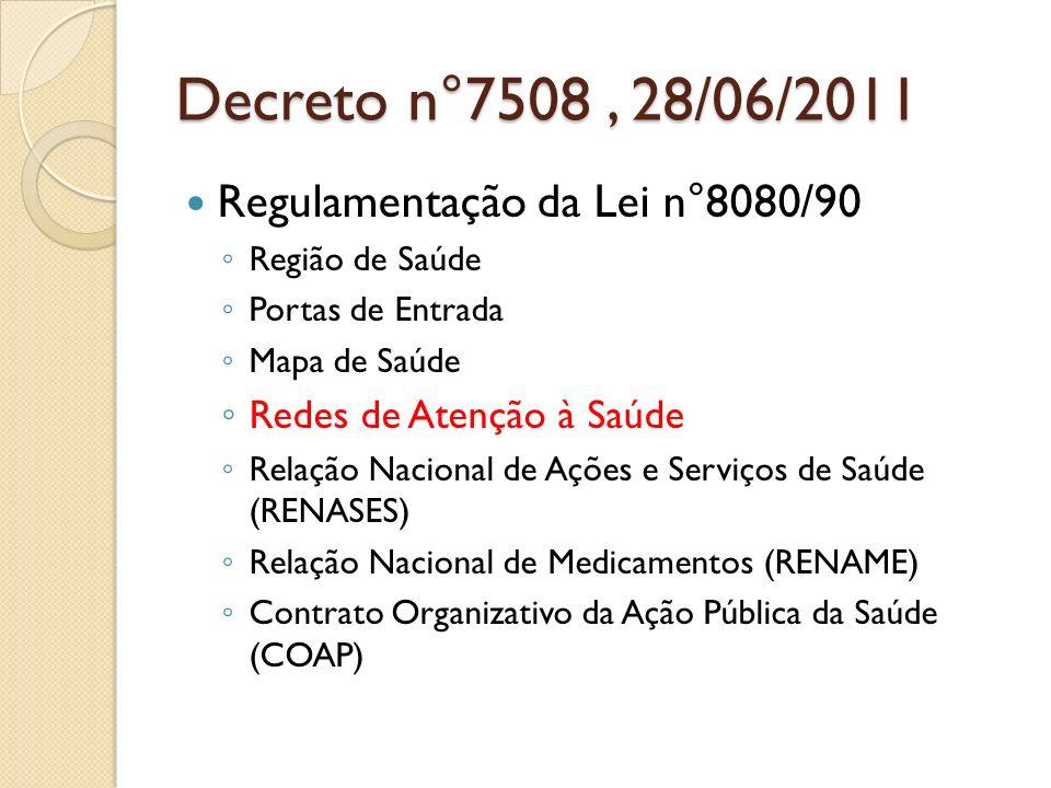 Decreto n°7508 , 28/06/2011 Regulamentação da Lei n°8080/90