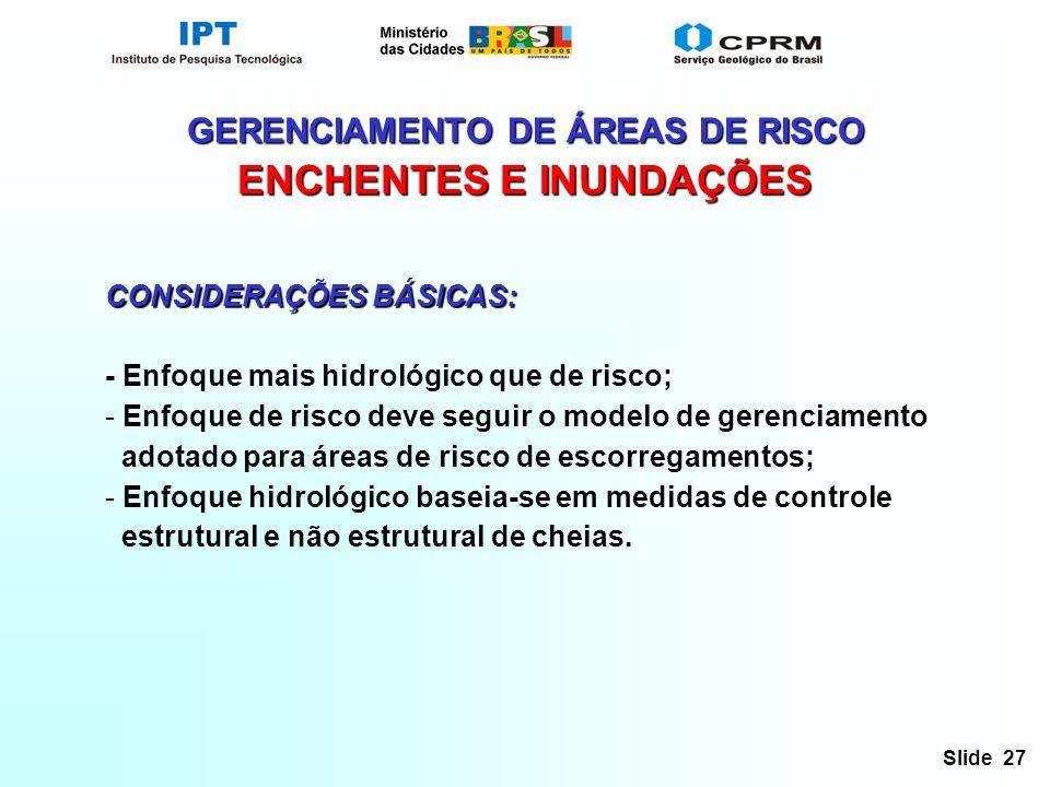 GERENCIAMENTO DE ÁREAS DE RISCO ENCHENTES E INUNDAÇÕES