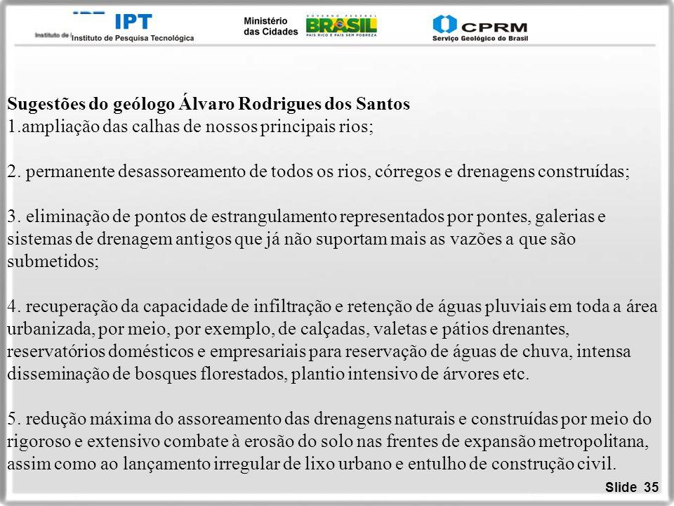 Sugestões do geólogo Álvaro Rodrigues dos Santos