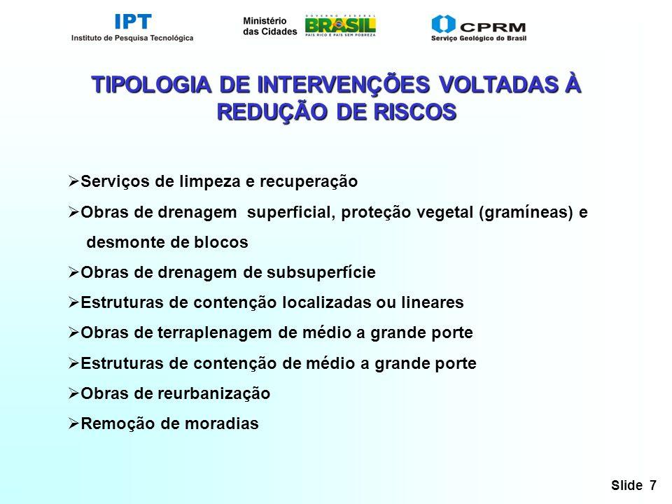 TIPOLOGIA DE INTERVENÇÕES VOLTADAS À REDUÇÃO DE RISCOS