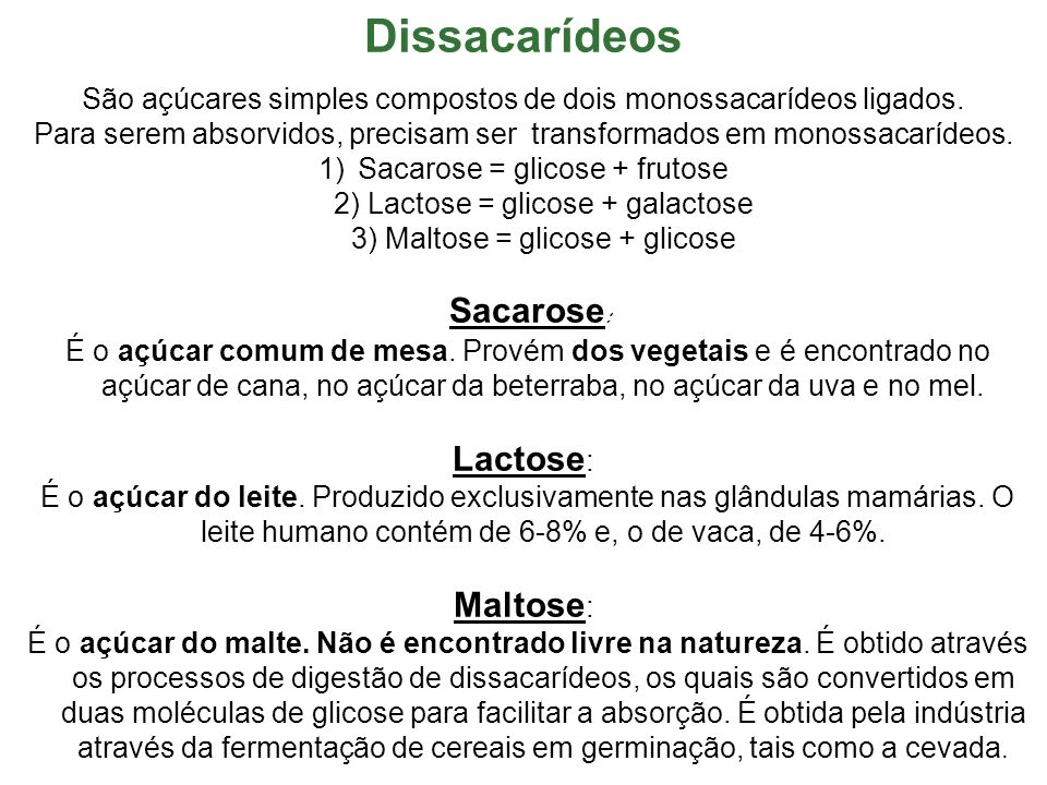 Dissacarídeos Lactose: Maltose: