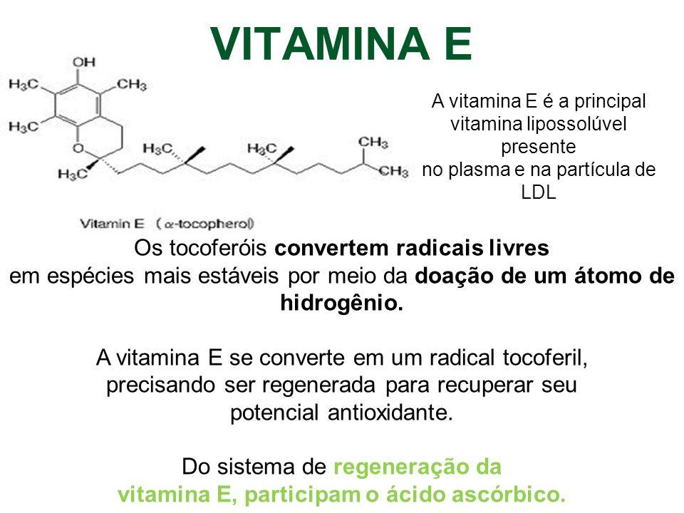 vitamina E, participam o ácido ascórbico.