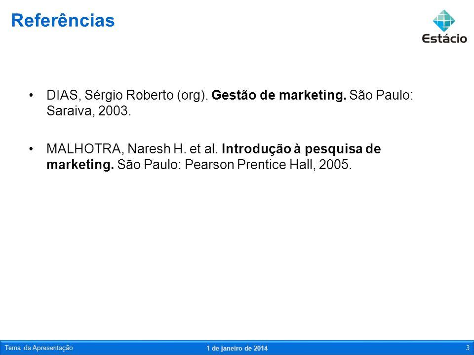 Referências DIAS, Sérgio Roberto (org). Gestão de marketing. São Paulo: Saraiva, 2003.