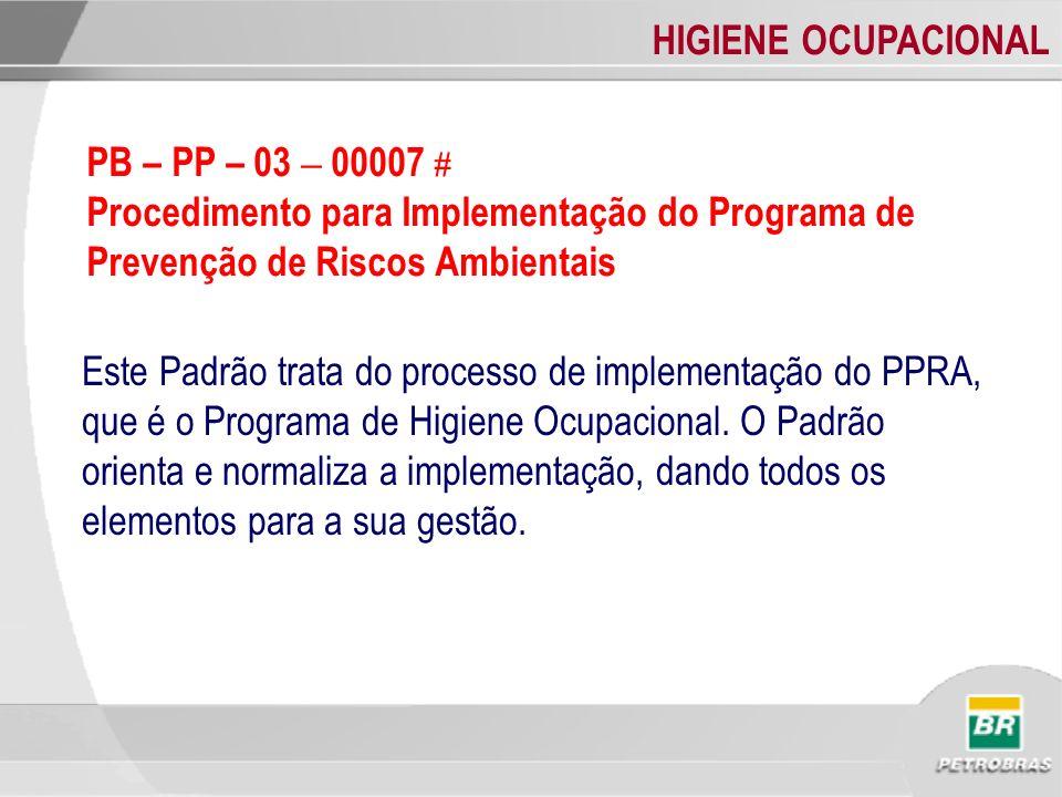 PB – PP – 03 – 00007 # Procedimento para Implementação do Programa de Prevenção de Riscos Ambientais.