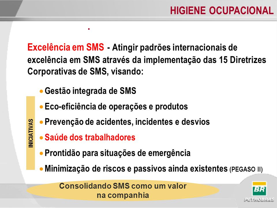 Consolidando SMS como um valor na companhia