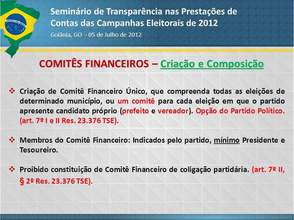 COMITÊS FINANCEIROS – Criação e Composição