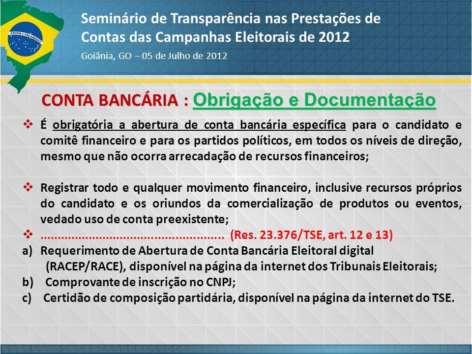 CONTA BANCÁRIA : Obrigação e Documentação