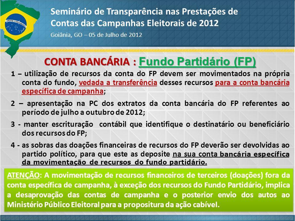 CONTA BANCÁRIA : Fundo Partidário (FP)