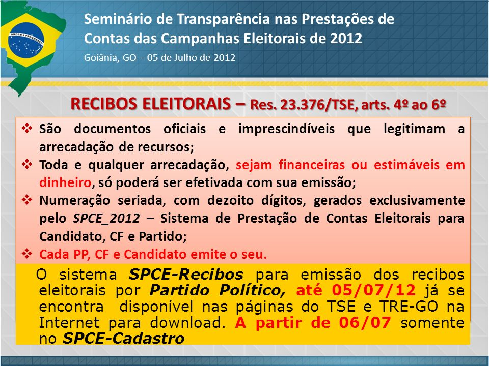 RECIBOS ELEITORAIS – Res. 23.376/TSE, arts. 4º ao 6º