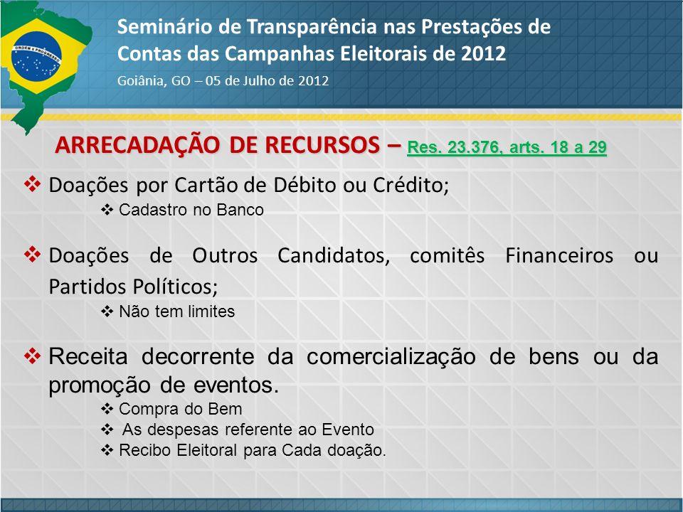 ARRECADAÇÃO DE RECURSOS – Res. 23.376, arts. 18 a 29