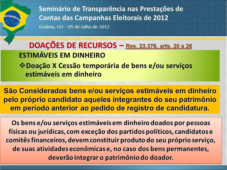 DOAÇÕES DE RECURSOS – Res. 23.376, arts. 20 a 26