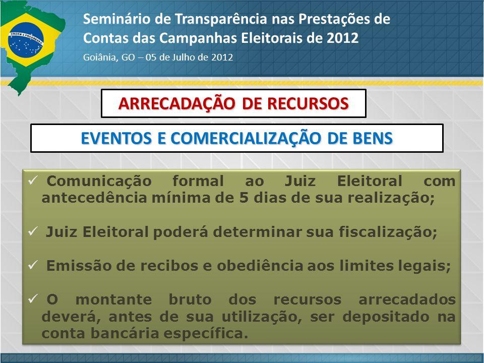 ARRECADAÇÃO DE RECURSOS EVENTOS E COMERCIALIZAÇÃO DE BENS