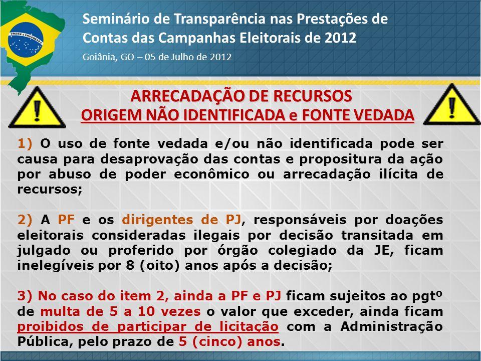 ARRECADAÇÃO DE RECURSOS ORIGEM NÃO IDENTIFICADA e FONTE VEDADA