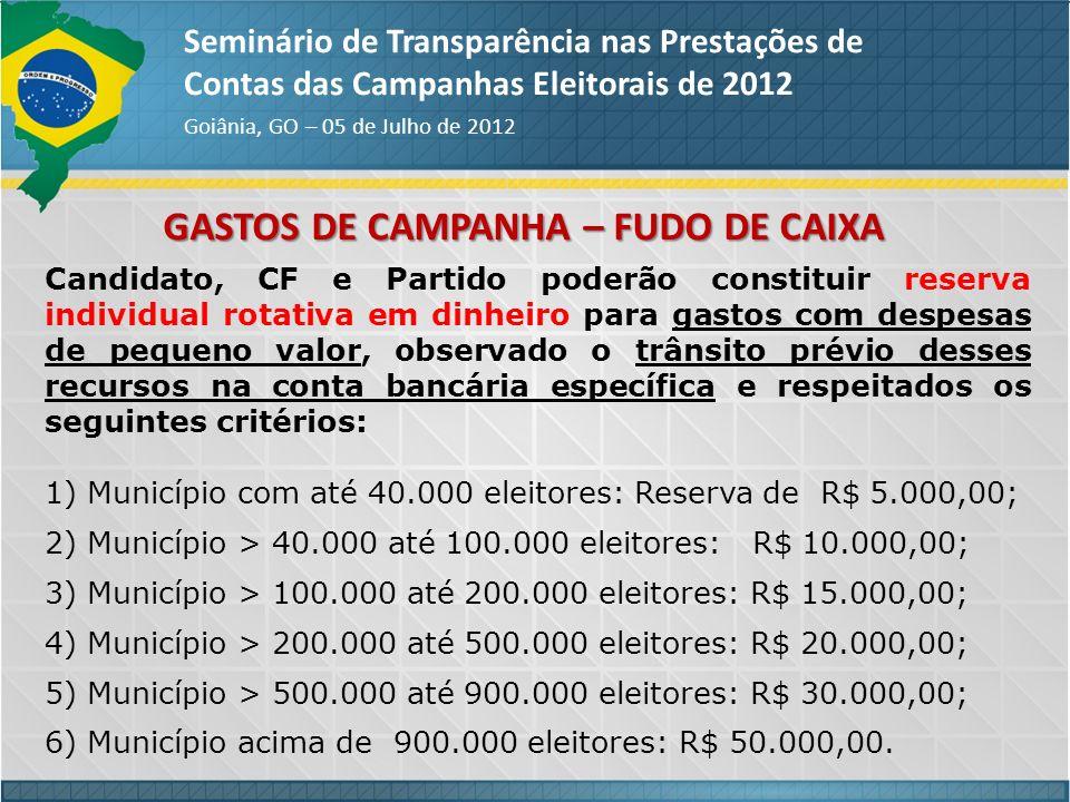 GASTOS DE CAMPANHA – FUDO DE CAIXA