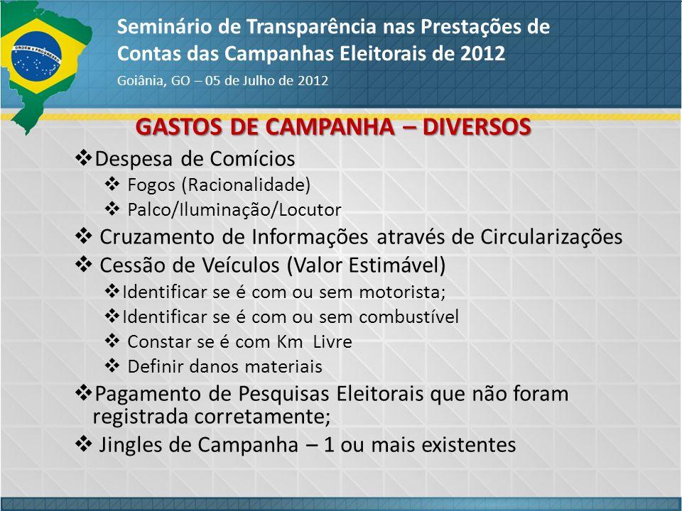 GASTOS DE CAMPANHA – DIVERSOS
