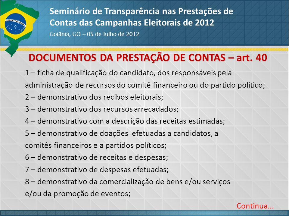 DOCUMENTOS DA PRESTAÇÃO DE CONTAS – art. 40