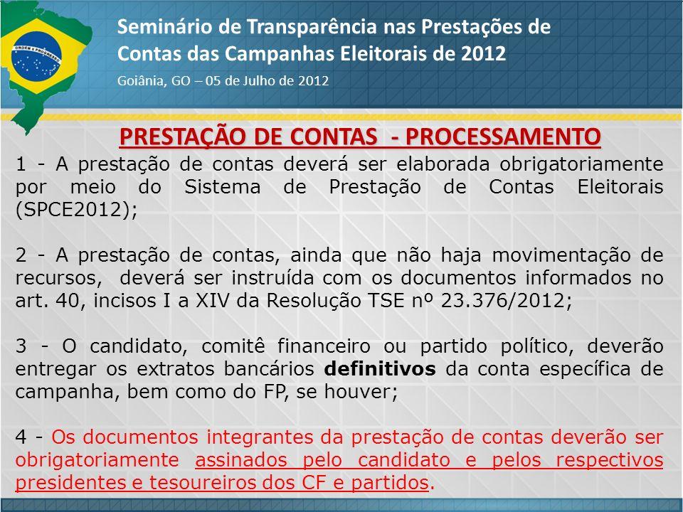 PRESTAÇÃO DE CONTAS - PROCESSAMENTO