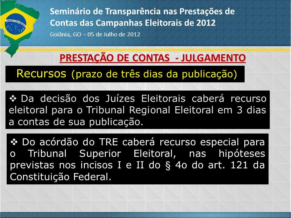 PRESTAÇÃO DE CONTAS - JULGAMENTO