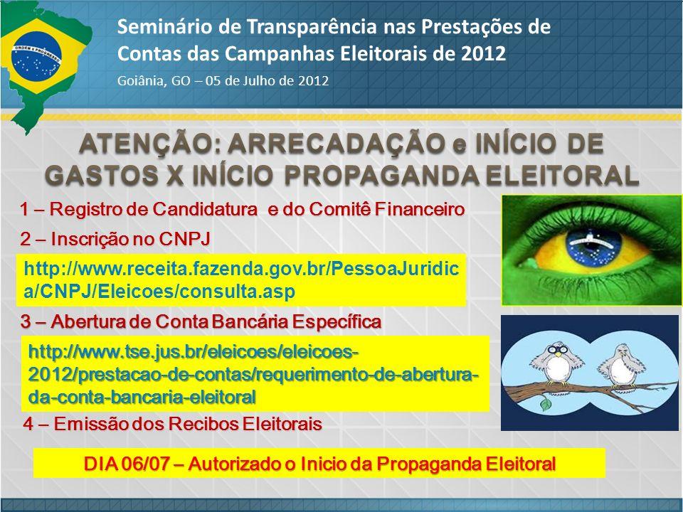 ATENÇÃO: ARRECADAÇÃO e INÍCIO DE GASTOS X INÍCIO PROPAGANDA ELEITORAL