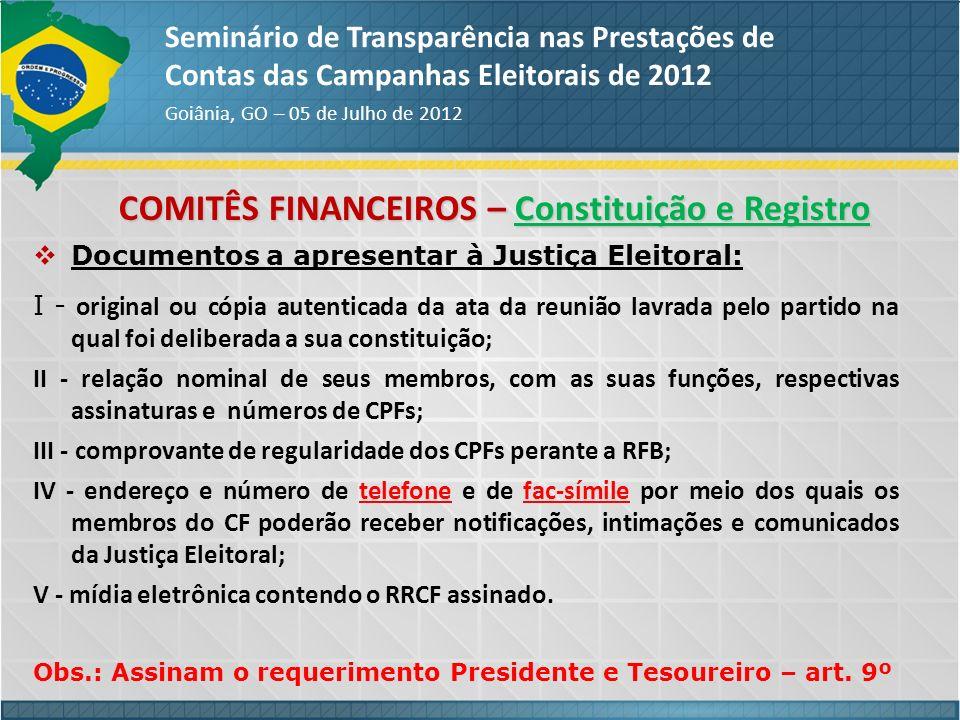 COMITÊS FINANCEIROS – Constituição e Registro