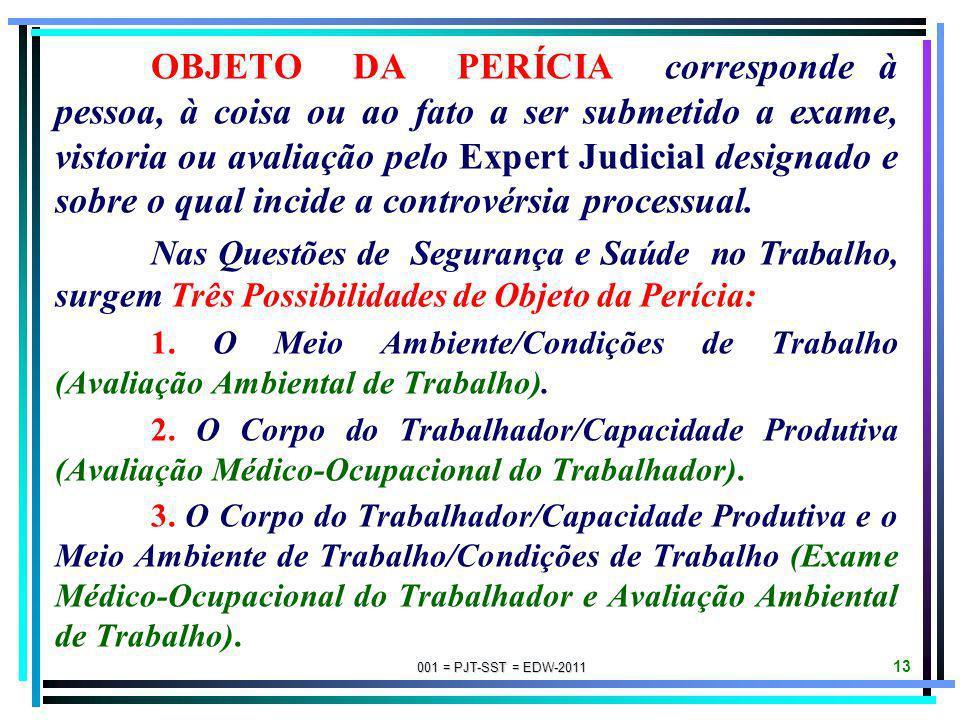 OBJETO DA PERÍCIA corresponde à pessoa, à coisa ou ao fato a ser submetido a exame, vistoria ou avaliação pelo Expert Judicial designado e sobre o qual incide a controvérsia processual.