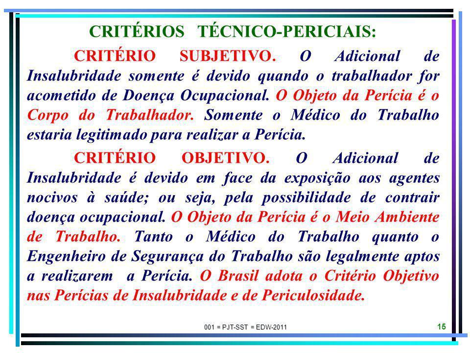 CRITÉRIOS TÉCNICO-PERICIAIS: