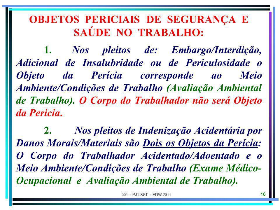OBJETOS PERICIAIS DE SEGURANÇA E SAÚDE NO TRABALHO: