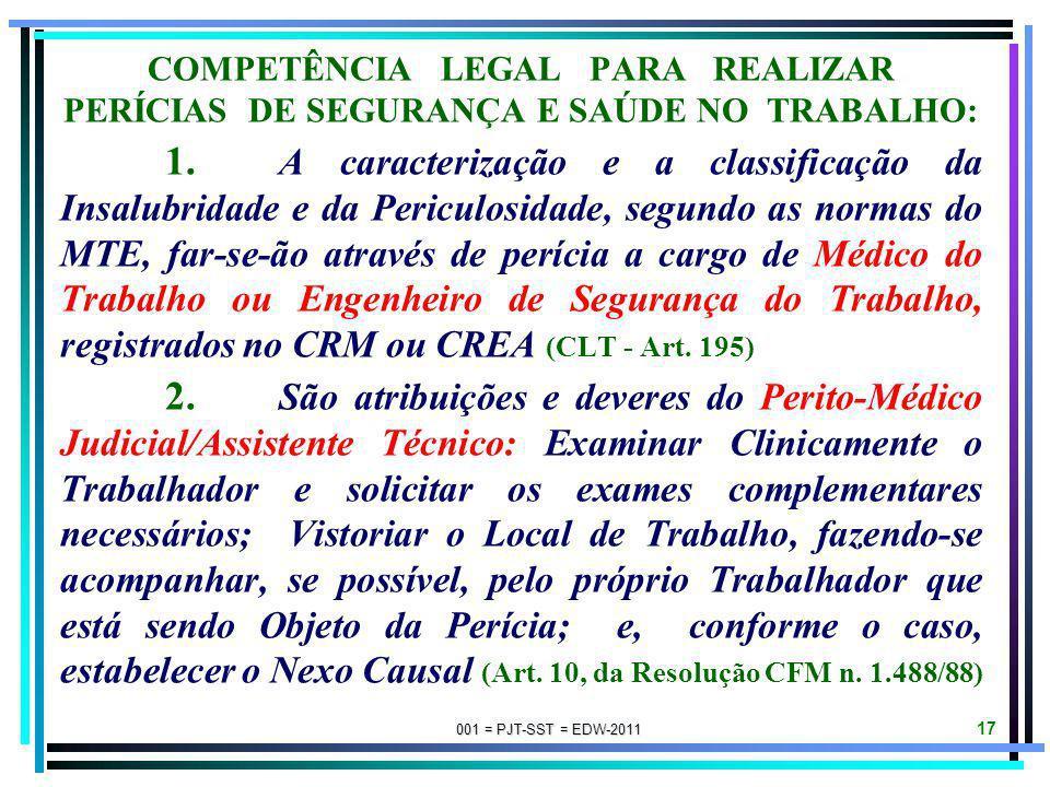 COMPETÊNCIA LEGAL PARA REALIZAR PERÍCIAS DE SEGURANÇA E SAÚDE NO TRABALHO: