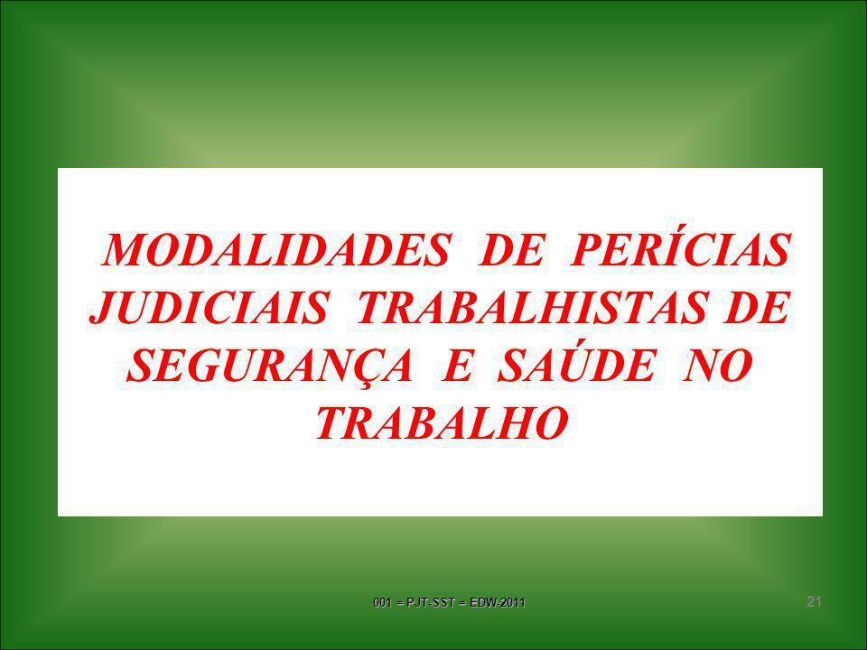 MODALIDADES DE PERÍCIAS JUDICIAIS TRABALHISTAS DE SEGURANÇA E SAÚDE NO TRABALHO