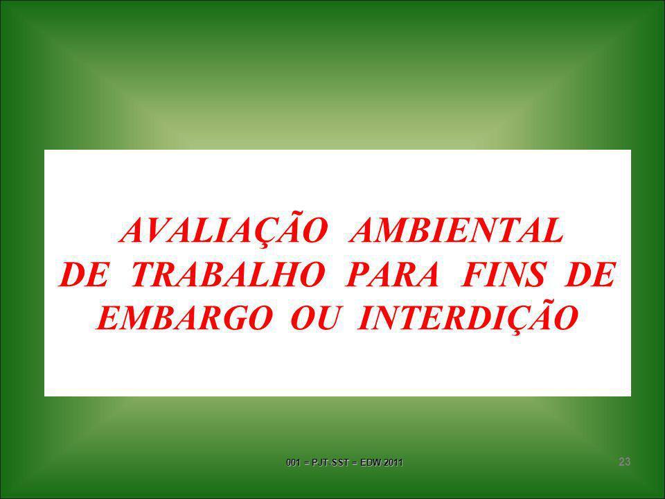 AVALIAÇÃO AMBIENTAL DE TRABALHO PARA FINS DE EMBARGO OU INTERDIÇÃO