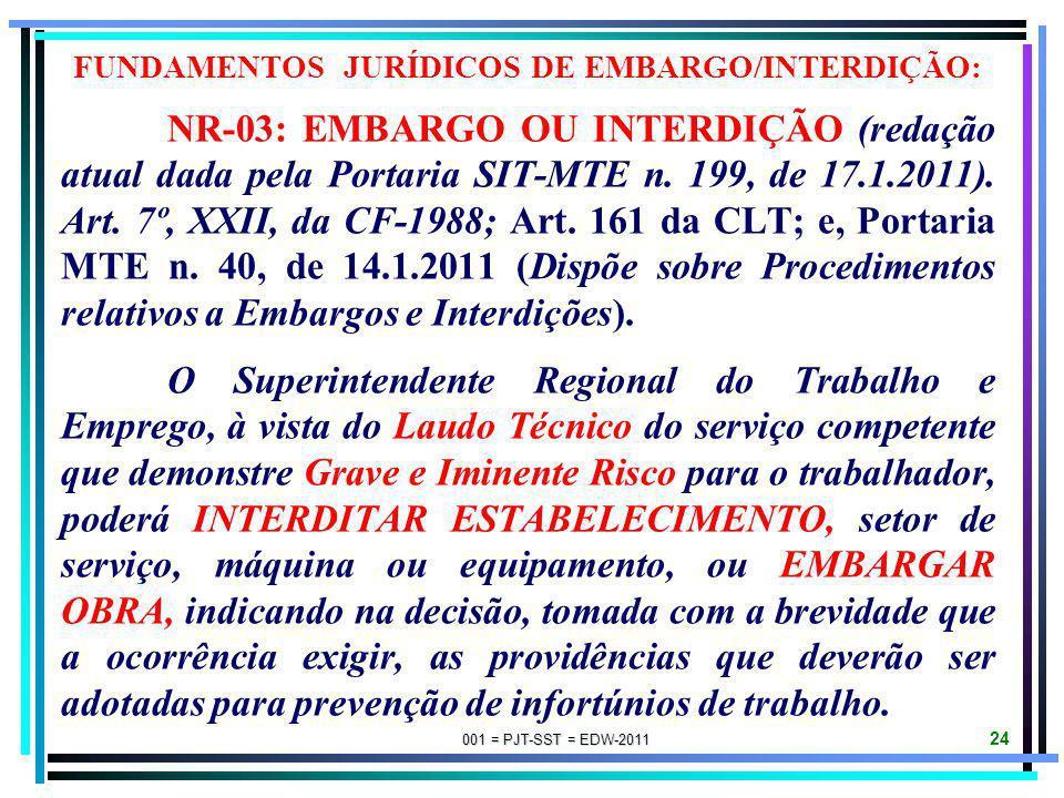 FUNDAMENTOS JURÍDICOS DE EMBARGO/INTERDIÇÃO: