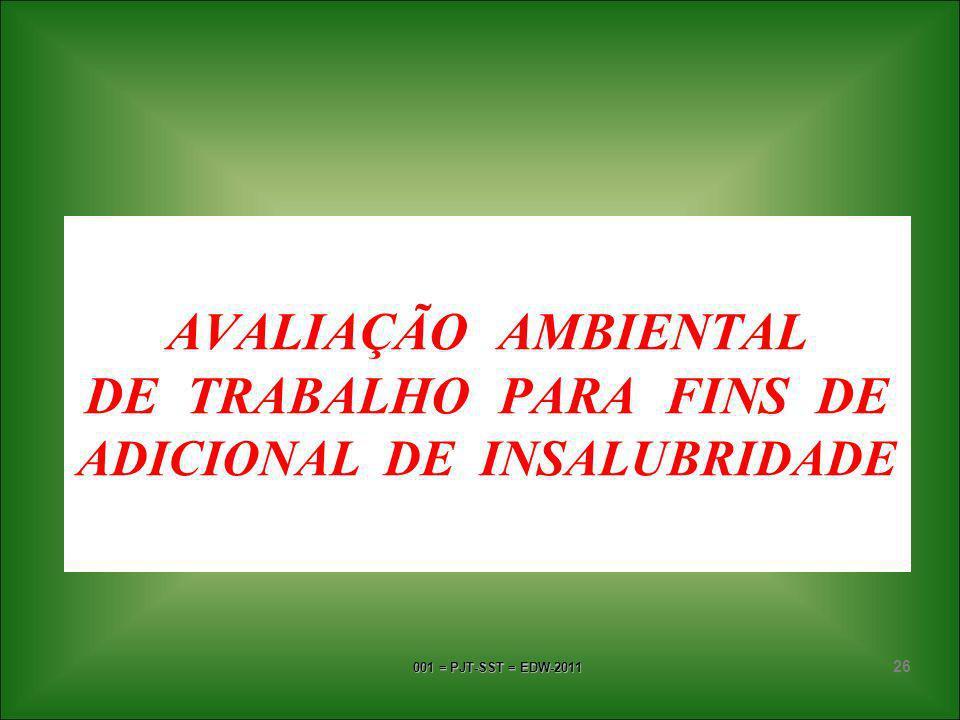 AVALIAÇÃO AMBIENTAL DE TRABALHO PARA FINS DE ADICIONAL DE INSALUBRIDADE