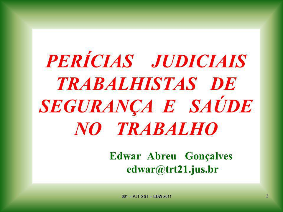 PERÍCIAS JUDICIAIS TRABALHISTAS DE SEGURANÇA E SAÚDE NO TRABALHO