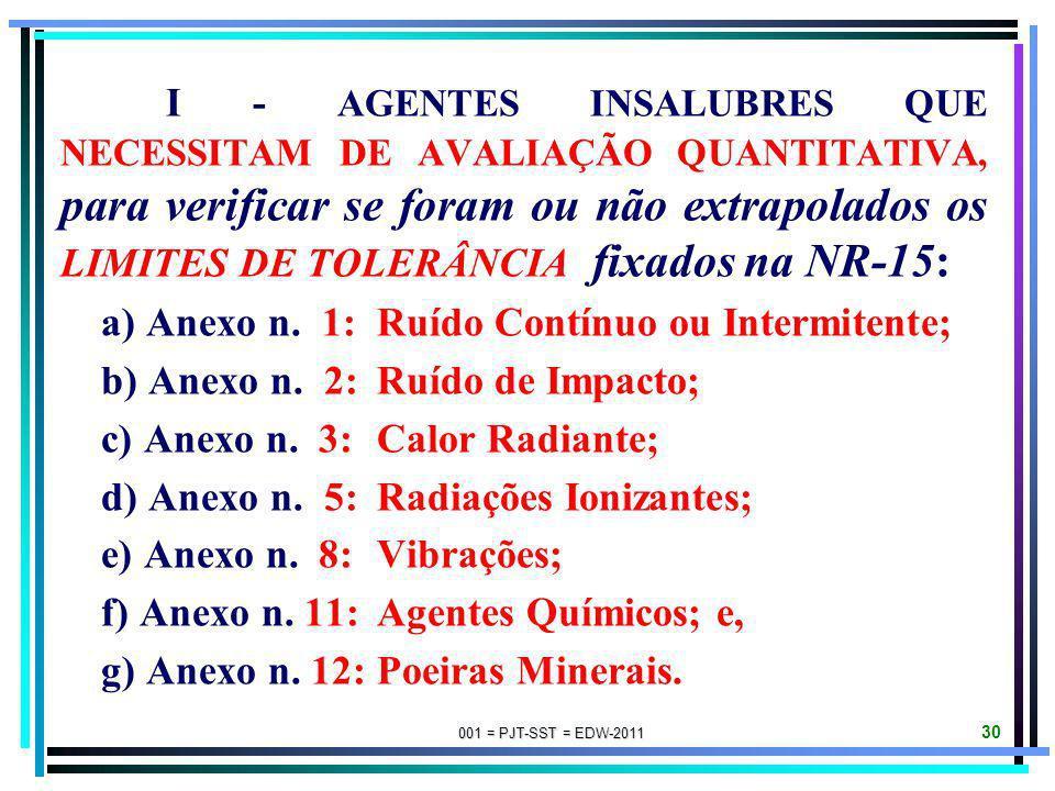 a) Anexo n. 1: Ruído Contínuo ou Intermitente;