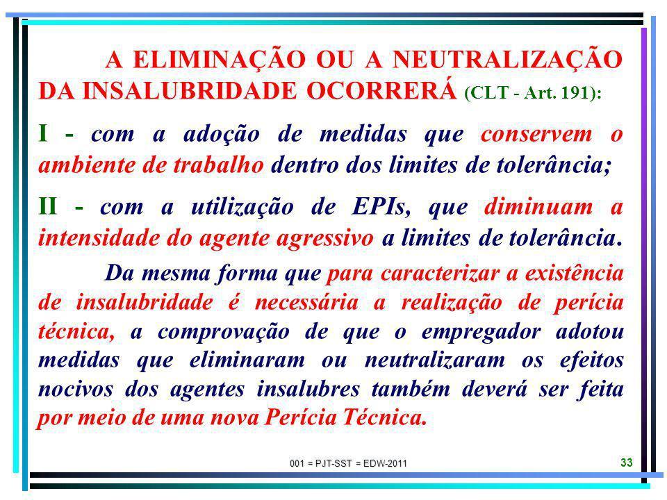 A ELIMINAÇÃO OU A NEUTRALIZAÇÃO DA INSALUBRIDADE OCORRERÁ (CLT - Art
