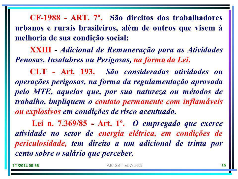 CF-1988 - ART. 7º. São direitos dos trabalhadores urbanos e rurais brasileiros, além de outros que visem à melhoria de sua condição social: