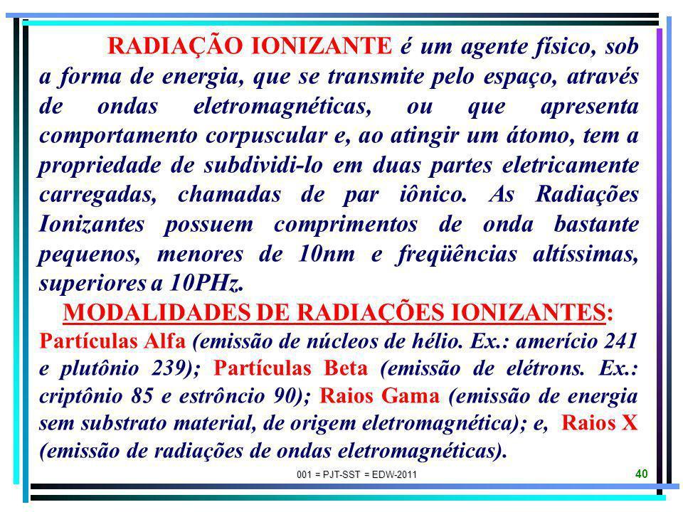 MODALIDADES DE RADIAÇÕES IONIZANTES: