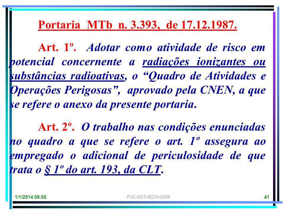Portaria MTb n. 3.393, de 17.12.1987.