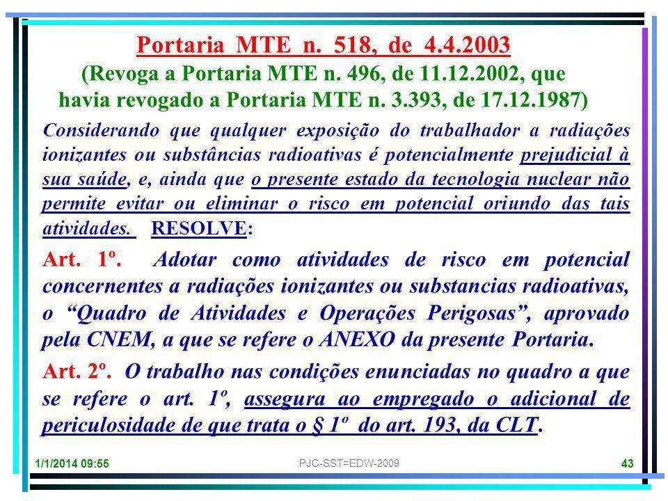 Portaria MTE n. 518, de 4.4.2003 (Revoga a Portaria MTE n. 496, de 11.12.2002, que. havia revogado a Portaria MTE n. 3.393, de 17.12.1987)