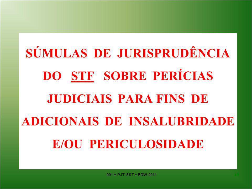 SÚMULAS DE JURISPRUDÊNCIA DO STF SOBRE PERÍCIAS JUDICIAIS PARA FINS DE ADICIONAIS DE INSALUBRIDADE E/OU PERICULOSIDADE