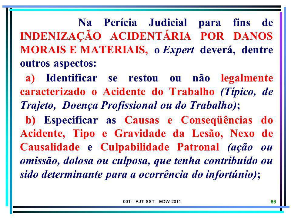 Na Perícia Judicial para fins de INDENIZAÇÃO ACIDENTÁRIA POR DANOS MORAIS E MATERIAIS, o Expert deverá, dentre outros aspectos: