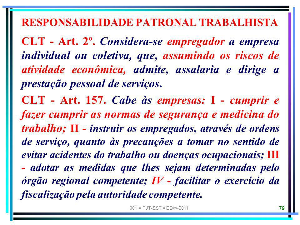 RESPONSABILIDADE PATRONAL TRABALHISTA