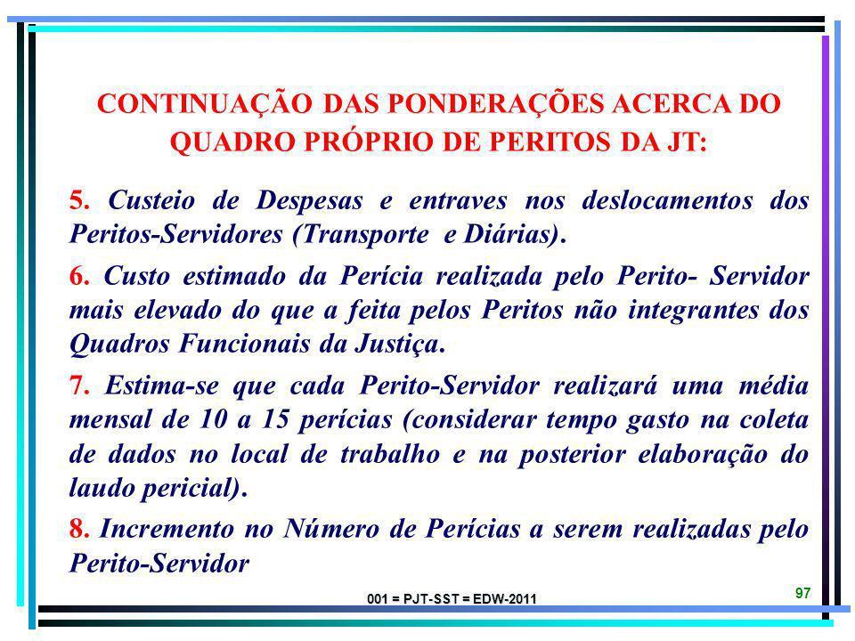 CONTINUAÇÃO DAS PONDERAÇÕES ACERCA DO QUADRO PRÓPRIO DE PERITOS DA JT: