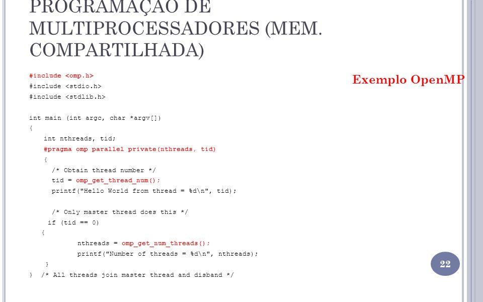 PROGRAMAÇÃO DE MULTIPROCESSADORES (MEM. COMPARTILHADA)